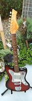 Rare Vintage Kawai Zim Gar Teisco 1966 Redburst Guitar W/Great Chrome
