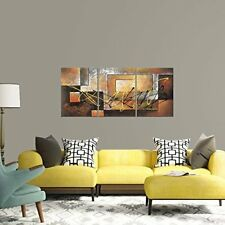 3 Piece Canvas Modern Art Painting Abstract Wall Framed Big Brown Ready to Hang