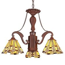 """Tiffany Style Stained Glass Mission 3 Light Mini Chandelier 22"""" Wide Retro Style"""