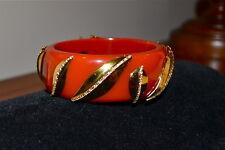 New $695 MIRIAM SALAT Coral Crimson Resin 18k Gold Clad Hinged Cuff Bracelet