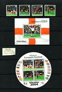 GIBRALTAR - 2004 Football Championships set + 2 M/S MNH, below face price!