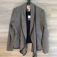 Forever 21 Women's Sz M Herringbone Wool Blend Jacket Faux Leather Trim