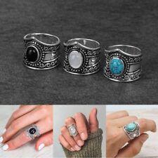 Vintage Women Black Agate Rainbow Moonstone Turquoise Natural Gemstone Rings Hot