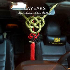 2Pcs JP JDM Black Red Kiku Knot Golden Kin Rope For Car Rearview Mirrors Charms