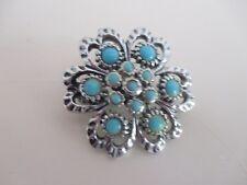 Silver Colour Brooch Vintage Enamel Blue And