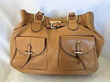 "Brown 4.5X12X12"" Etienne Aigner Leather Bag Purse w 9 Pockets & 2 Handles"