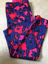 Stunning 12 Hot Pink Electric Blue Slim Leg Cotton Stretch Trousers