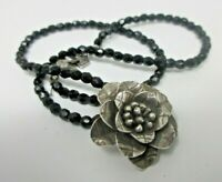 Silver Tone Rose Pendant Black Glass Beaded NECKLACE EUC 16 Inches