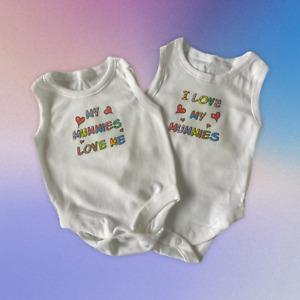 Baby Vests. Set of 2. 'My Mummies Love Me' and 'I Love My Mummies'.