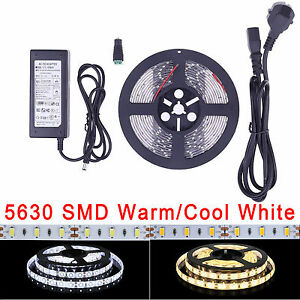 5M 10M 15M DC12V 5630 SMD 300 LED Strip Light Warm Cool White + 6A Power Adapter
