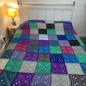 Vintage Granny Squares Blanket Handmade Crochet Throw Blanket Double King Bed