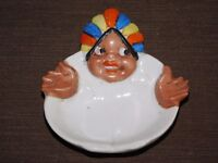 "VINTAGE 4 3/4"" X 4 1/4"" MADE IN JAPAN COLORFUL CERAMIC ASHTRAY"