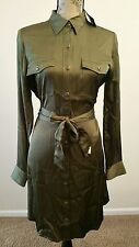 LAUREN RALPH LAUREN WOMEN BELT BUTTON DOWN MILITARY SHIRT DRESS OLIVE SZ 10 $150