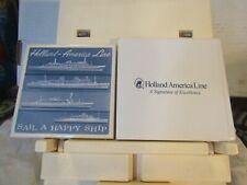 """Holland-America Line souvenir Delft """"Sail a Happy Ship"""" coaster New in box cert."""