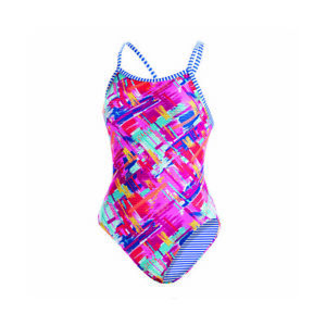 NWT Womens Dolfin Uglies Basket Case V-2 Swimsuit Size 32 Pink Blue Yellow