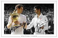 ANDY MURRAY e Novak Djokovic 2013 wimbledon FINAL autograph signed STAMPA FOTO
