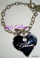 GUESS ??? Jeans Charms Charm  Bow  Heart  Bracelet Bangle  Silver tone   NWT