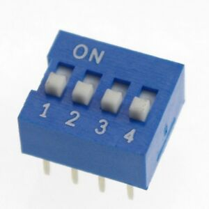 Lot10 DIP Switch 4 Positions 2.54mm Pitch Through Hole Silver Top Actuated Slide