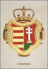 UNGHERIA:Stemma Araldico-Pagnoni 1863.Originale Lithografia Colori.Passepartout