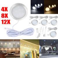 4/8/12PCS Under Cabinet Light LED Puck Bulb Kitchen Lamp Shelf  Hardwired Kit