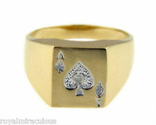 Mens Diamond Ring Ace of Spades Poker 14K Yellow Gold