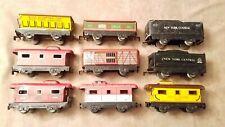 MARX - VINTAGE TIN LITHO TRAIN CARS  - SET OF 9 - O SCALE