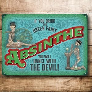 Absinthe Drink the Green Fairy Dance Devil Bar Pub Large Metal Steel Wall Sign