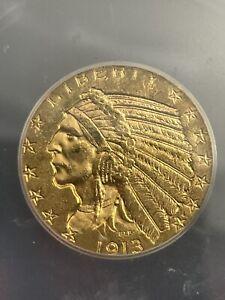 1913 $5 gold indian half eagle MS63
