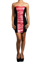 New S M L Dress Womens Faux Leather Pink Strapless Tube Stretch Club Mini