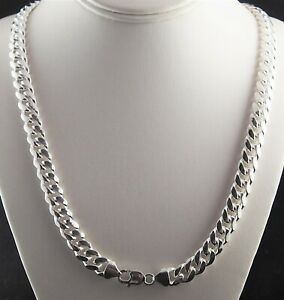 """10.5mm Solid 925 Sterling Silver Miami Cuban Link Chain Necklace Men Italy 24"""""""