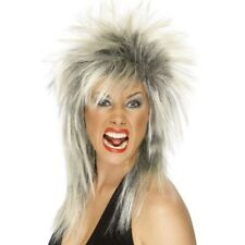 Women's Long Blonde & Black Mullet Rock Star Wig Music Diva Tina Fancy Dress