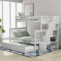 White Stairway Twin-Over-Full Bunk Bed Frame w/ Twin size Trundle Furniture Hot!