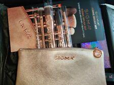 Sigma Beauty icónico cepillo conjunto + Bolsa De Belleza De Oro Rosa Rrp £ 75 Nuevo Y En Caja