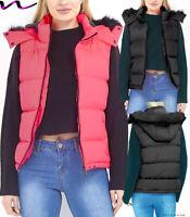 NEON Womens GILET BODYWARMER LADIES QUILTED COAT PUFFER FUR HOODED JACKET PARKA