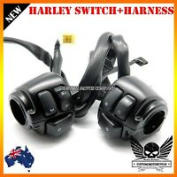 """Black Motorcycle 1"""" Handlebar Control Switches + Wiring Harness Harley dyna vrod"""