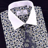 White Contrast Cuff and Collar Business Dress Shirt Formal Floral Casual Apparel