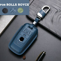 Real Leather Car Key Case Cover Holder Bag For Rolls-Royce Phantom Badge Edition