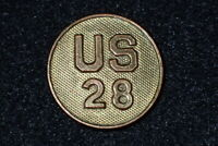 Early 1920's US Army Enlisted Collar Disc Device 'U.S. 28' Screw Back Original