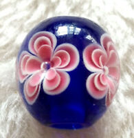 10pcs exquisite handmade Lampwork glass  beads blue pink flower round 14mm