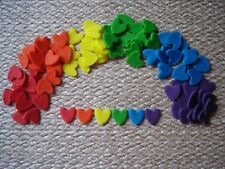 90 edible rainbow hearts for cupcake / cake decorations