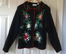 B.P. DESIGN Ugly or Pretty Christmas Button Front Sweater Size Large *Vintage*