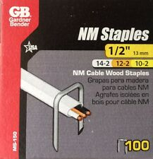 "100 Gardner Bender MS-150 NM 1/2"" Metal Cable Staples for 14-2/12-2/10-2 Wire"