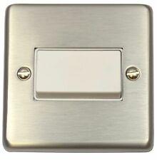 G&H CSS69W Standard Plate Brushed Steel 1G Triple Pole 10A Fan Isolator Switch
