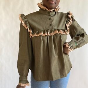 Vintage Bis 100% Cotton Olive Denim Prairie / Cottagecore Top M