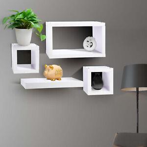 Set of 4 shelves Floating Wall  Shelve Home Decor Storage Wood Shelf Unit White