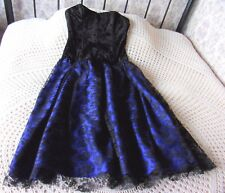 Vintage party dress by PAIGE Size 10 Cobalt blue sheen & crushed velvet & lace