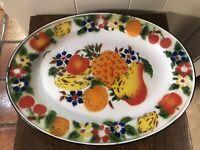 Vintage Enamel Ware Farmhouse 17.5 x 13 OVAL Platter Fruit/Flowers