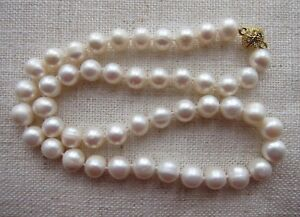 """Akoya Sea Cultured Pearl Necklace with Diamante Clasp 8-10 mm; 15 1/4"""" -18"""" long"""
