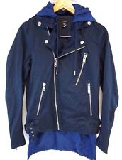 NWOT Diesel Men's Blue J-Machine Motorcycle Jacket w Red Removable Hoodie Large