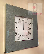 NEW Shimmer Glitter Crystals Mirrored Glass Silver Square Wall Clock50x50cm